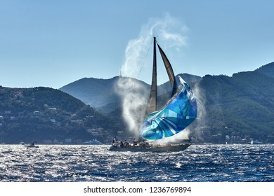 Sport sailing yachts in the race
