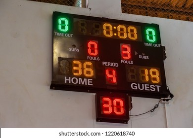 Sport scoreboard showing game result at a local sport arena