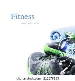 Sport shoes and gym accessories. Fitness concept