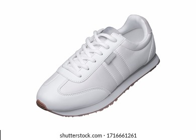 Sport shoes. White sneaker made of fabric with leather accents.
