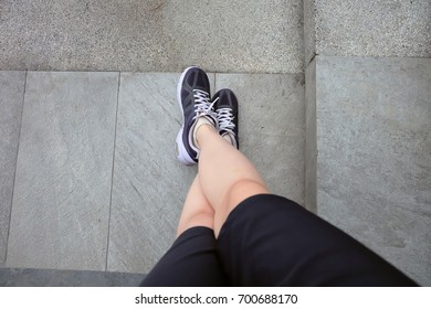Sport Sneakers, Female of Running Shoes on The Cement Great For Any Use.