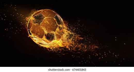 Sport. Soccer ball in flame closeup image. Soccer ball isolated on black background. Football energy.