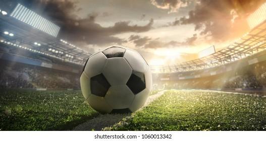 Sport. Soccer ball on stadium. Football poster.
