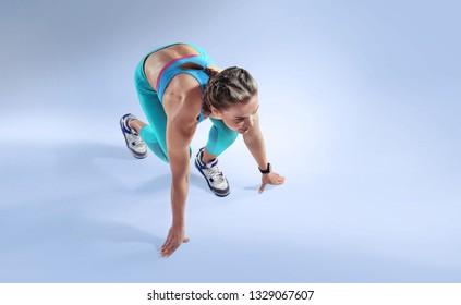 Sport. Sprinter starting. Isolated Athlete runner. Silhouette.
