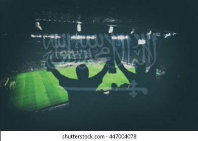 sport stadium with fans and blending Saudi Arabia flag