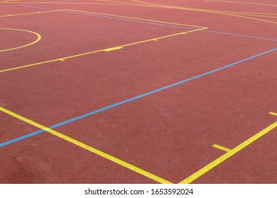 sport stadium field with lines on red floor