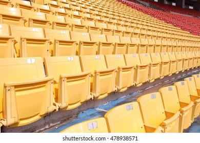 Sport stadium Plastic chairs in a football  stadium.