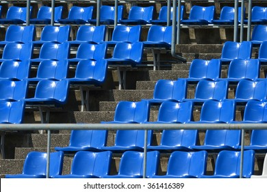 Sport stadium seat no people seating on blue chairs backgrounds