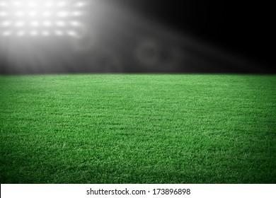 Sport stadium in spotlight with green grass field