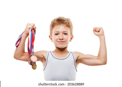 Sport success and win concept - smiling athlete champion child boy hand holding first place victory gold medal award