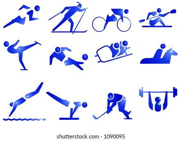 Sport Symbol Icons in Blue