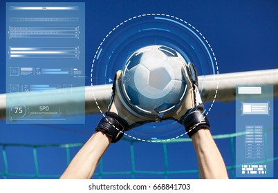 sport and technology - soccer player or goalkeeper hands catching ball at football goal over blue sky