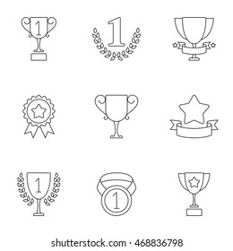 Sport trophy and awards icons. Set of 9 lined icons
