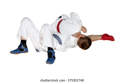 Sport. Two wrestlers fight. Isolation on a white background.