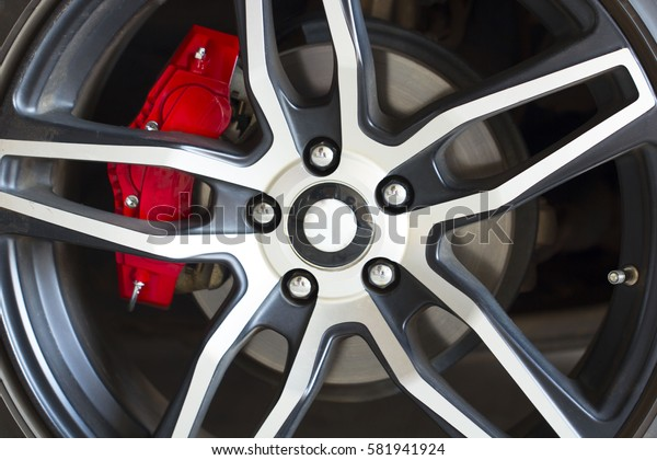 Sport vehicle disc brake and alloy wheels detail