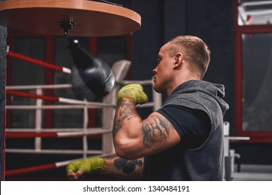 Sport is the way of life. An arm workout, professional young boxer hitting with the punching speed bag in boxing gym