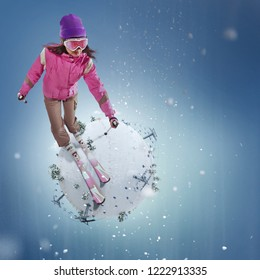 Sport. Winter Sport concept. Winter background. Young woman riding on skis on white winter planet. 3d illustration in realistic style. Winter travel.