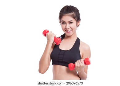 Sport woman doing exercise with lifting weights
