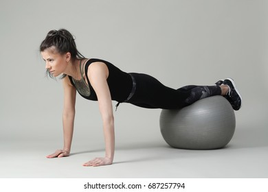 Sport. Woman exercise with big ball