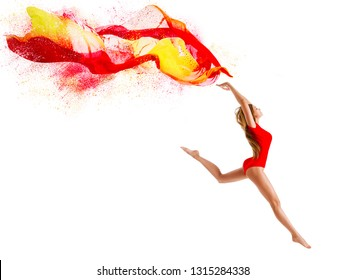 Sport Woman Jumping with Flying Cloth, Happy Gymnast Girl with Fluttering Fabric, Gymnastics over White Background