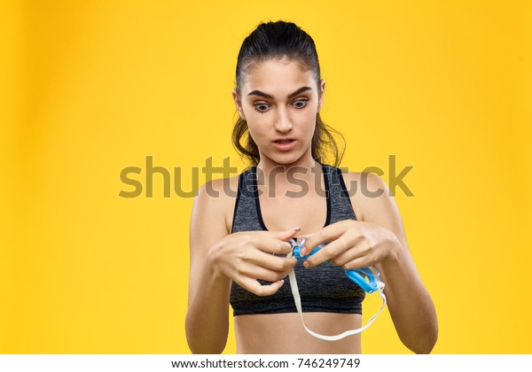 sport, woman swimmer on yellow background