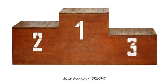 Sport. Wooden podium with white numbers on a white background.