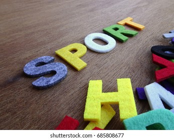 SPORT word made from colorful felt fabric isolated on wood texture board.
