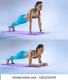 Sport. Young athletic woman doing plank. Muscular and strong girl exercising. Fitness exercising.
