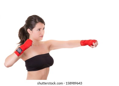 sport young woman, gloves, fitness girl over white background