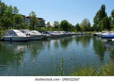 Sportboats in boat harbor at Augst. CH Switzerland 1st June 2021