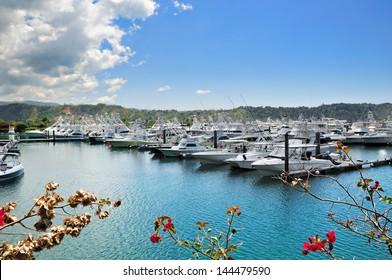 Sportfishing boats in Los Suenos Marina, Raco, Costa Rica, Central America