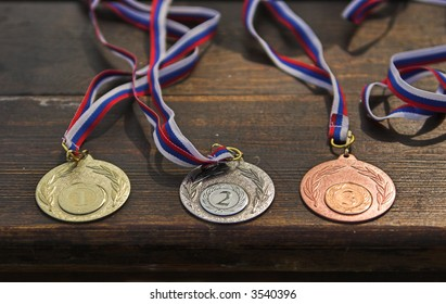 Sporting medals situated on the table