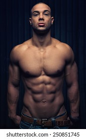 sportive man with a muscular body