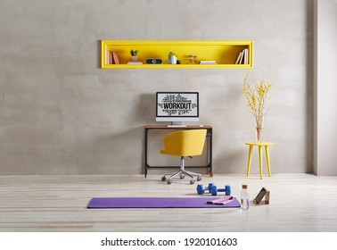 Sportive and training room style with purple mat dumbbell, computer background. Yellow bookshelf and coffee table, yellow vase and plant.