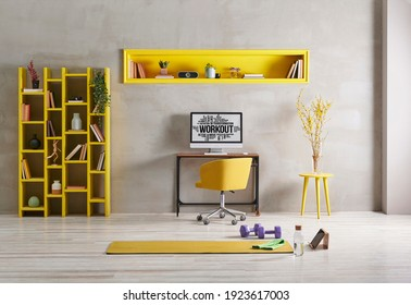 Sportive and training room style with yellow mat dumbbell, computer background. Yellow bookshelf and coffee table, yellow vase and plant.
