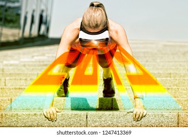 Sportive woman makes her pushup workout on stairs, wearing virtual reality glasses. A ray out of the VR glass performs the year 2019.