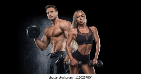 A sportive young couple posing in front of a camera on a dark background, playing sports, wearing beautiful sportswear, sharing sports, bodybuilding, fitness. Training of the biceps.