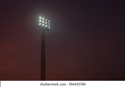 sportlights tower with background twilight