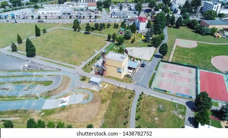 Sports area and observation tower Komec in Brno South from above, Czech Republic