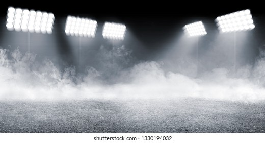 Sports arena with concrete floor with smokes and spotlights against dark background