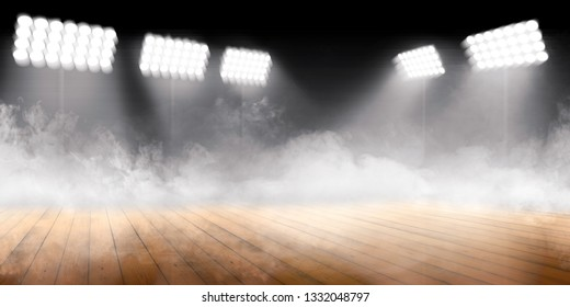 Sports arena with wooden floor with smokes and spotlights against dark background