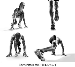 Sports background. Runner feet running on road closeup on shoe. Runner on the start. Black and white image isolated on white.