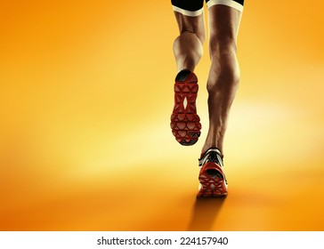 Sports background. Runner feet running closeup on shoe.