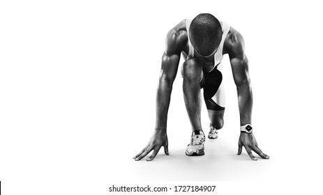 Sports background. Runner on the start. Black and white image isolated on white.  - Shutterstock ID 1727184907