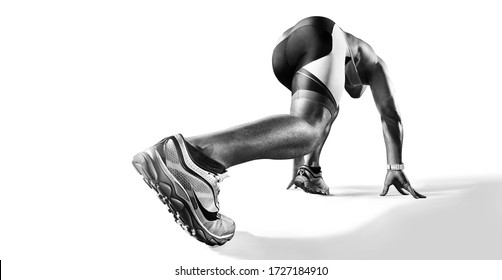 Sports background. Runner on the start. Black and white image isolated on white. Back view. Low angle.