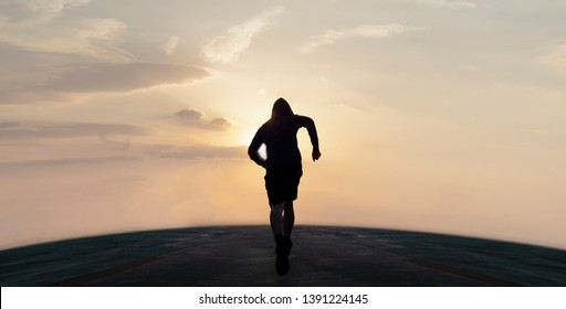 sports background. runner is running on road street , Soar to the front with speed, concept, exercise and intention, trying for success.