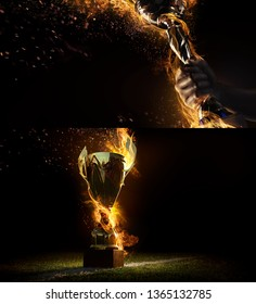 Sports background. Sport collage with fire and energy. Man's hand holding up trophy goblet. Winner in a competition.