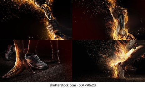 Sports background. Sport collage with fire and energy