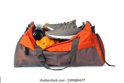 Sports bag with sports equipment Isolated on white background