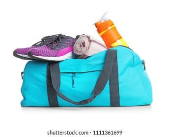 0e394eca8c Sports bag and gym stuff on white background